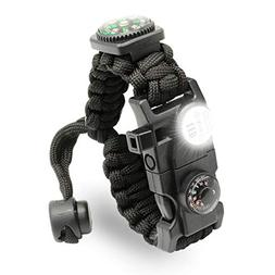 LeMotech 21 in 1 Adjustable Paracord Survival Bracelet, Tact