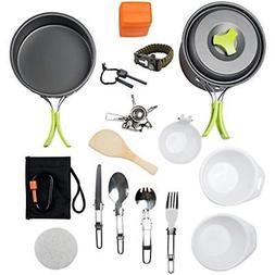 1 Open Fire Cookware Liter Camping Mess Kit Backpacking Gear