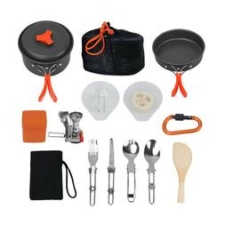 1 Set Portable Outdoor Camping Cookware Kit with Hiking Gear