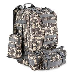 Flexzion 3-in-1 Tactical Backpack  55L Large Army Assault Pa