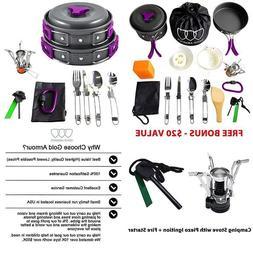 10 17pcs camping cookware mess kit backpacking