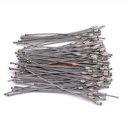 """100X 6"""" Silver Wire Cable Keychain Key Chains Rings Bulk Sta"""