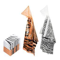 12 Count Durable Kids' Rain Ponchos with Hood - Zebra and Ti