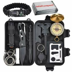 12 in 1 Camping Survival Gear Kit Military Tactical EDC Emer
