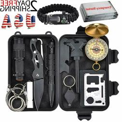 12 In 1 Outdoor Camping Survival Gear Kit Military Tactical