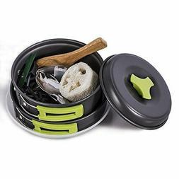 TTLIFE 12 PCS Camping Cookware Mess Kit Backpacking Gear &Hi
