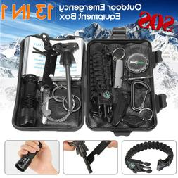 13 in 1 Emergency Camping Survival Equipment Kit Outdoor Tac