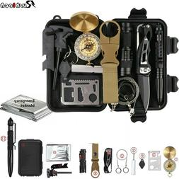 13 In 1 Outdoor Emergency Survival Gear Kit Camping Tactical