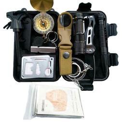 13 in 1 Outdoor Emergency Survival Gear Kit SOS EDC Case Cam