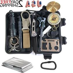 14 In 1 Camping Survival Kit Outdoor Military Tactical Backp