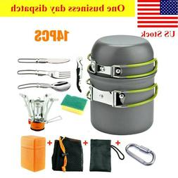 14pcs outdoor camping cookware stove hiking backpacking
