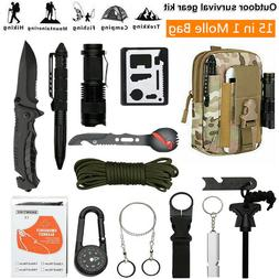15 in 1 Camping Survival Gear Kit EDC Military Hunting Tacti
