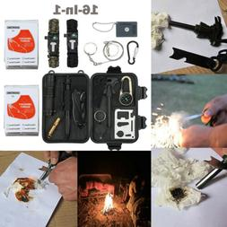 16 IN 1 SOS Survival Emergency Camping Hiking Gear Tools Tac