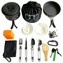 Gold Armour 17 Pieces Camping Cookware Backpacking Gear and