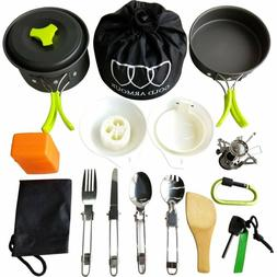 17 pieces camping cookware mess kit backpacking