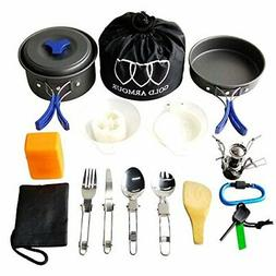Gold Armour 17 Pieces Camping Cookware Mess Kit Backpacking