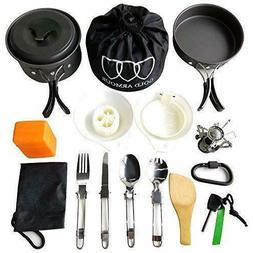 Gold Armour 17Pc Camping Cookware Mess Kit Backpacking Gear