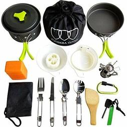 17pcs Gold Armour Camping Cookware Mess Kit Backpacking Gear