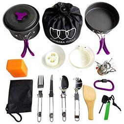 Gold Armour 17Pcs Camping Cookware Mess Kit Backpacking Gear