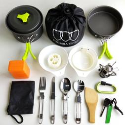 17Pcs Camping Cookware Mess Kit Backpacking Gear Hiking Outd