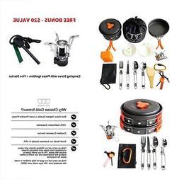 17Pcs Open Fire Cookware Camping Mess Kit Backpacking Gear &