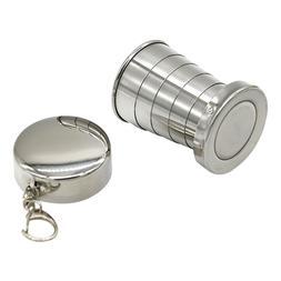1Pcs Stainless Steel 75ml Folding Cup Travel Tool Kit Surviv