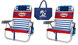 2 Tommy Bahama Backpack Beach Chairs/ Red White Blue Stripes