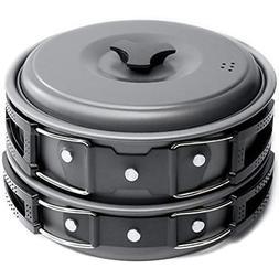 2 Liter Pots Pans & Griddles Camping Cookware Mess Kit Backp