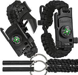 A2S 2 SHARP Paracord Bracelet 4pcs set Survival Gear Kit wit