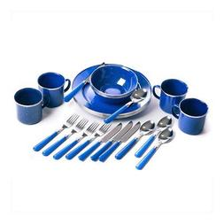 24 piece enamel camping tableware set