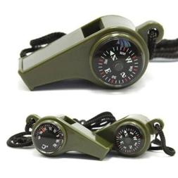 3 in1 Emergency Survival Gear Camping Hiking Whistle Compass