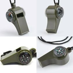 3 in1 Survival Gear Thermometer Compass Whistle Outdoor Emer