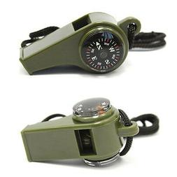 3 in1 Whistle Compass Thermometer Outdoor Hiking Camping Eme