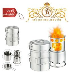 Qunlei 304 Stainless Steel Camping Cookware Set with Wood St