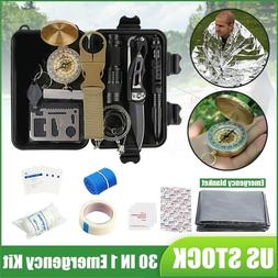 30Pcs SOS Emergency Camping Survival Equipment Kit Outdoor T