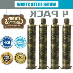 4pcs Water Filter Purifier Emergency Gear Straw Camping Remo
