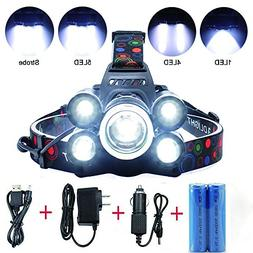 5 LED Headlamp 8000 Lumens 4 Modes Waterproof Flashlight Hea