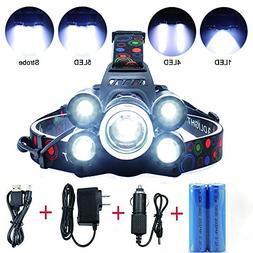 5 LED Headlamp 8000 Lumens 4 Modes Waterproof Flashlight Hea