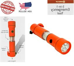 Geared Up 5-in-1 Emergency Tool Flashlight Survival Hiking B