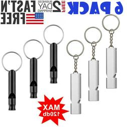 6 Pack Survival Whistle Aluminum Camping Emergency EDC Gear