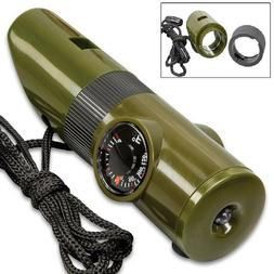 7 IN 1 MULTI FUNCTION WHISTLE CAMPING COMPASS SURVIVAL GEAR