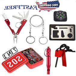 7 In 1 SOS Emergency Tools Set Survival Outdoor Gear Pack Ca