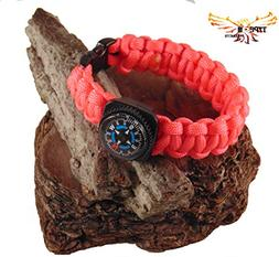 Type-III 7 Strand 550 Paracord Bracelet w/Compass in Solid