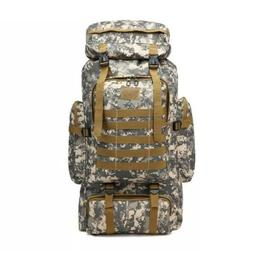 80L Large Camo Rucksack Backpack Hiking Tactical Military Ca