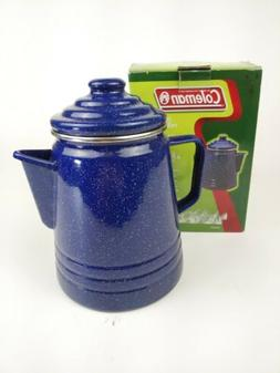COLEMAN 9 CUP BLUE/WHITE Enamelware COFFEE PERCOLATOR - ORIG