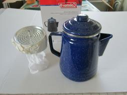 Coleman 9-Cup Coffee Enamel Percolator  NEW in BOX, camping,