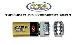 9 Volt LED Emergency Flashlight PACK OF 2 Climbing Cold Gear