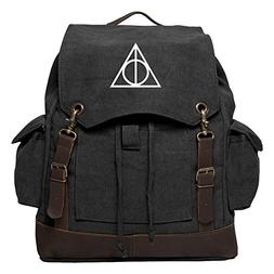Deathly Hallows Harry Potter Rucksack Backpack with Leather