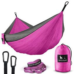 Double Portable Camping Hammock & Straps - Parachute Hammock