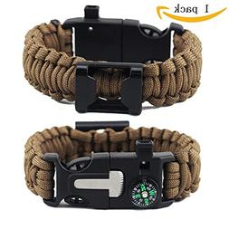 LF Outdoor Rope Paracord Survival Bracelet 6 in 1 Compass Wh